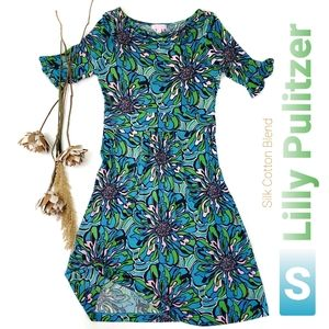 Lilly Pulitzer Blue Pink Floral Cowl Neck Dress S